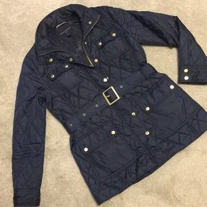 Banana Republic PS navy belted quilted jacket